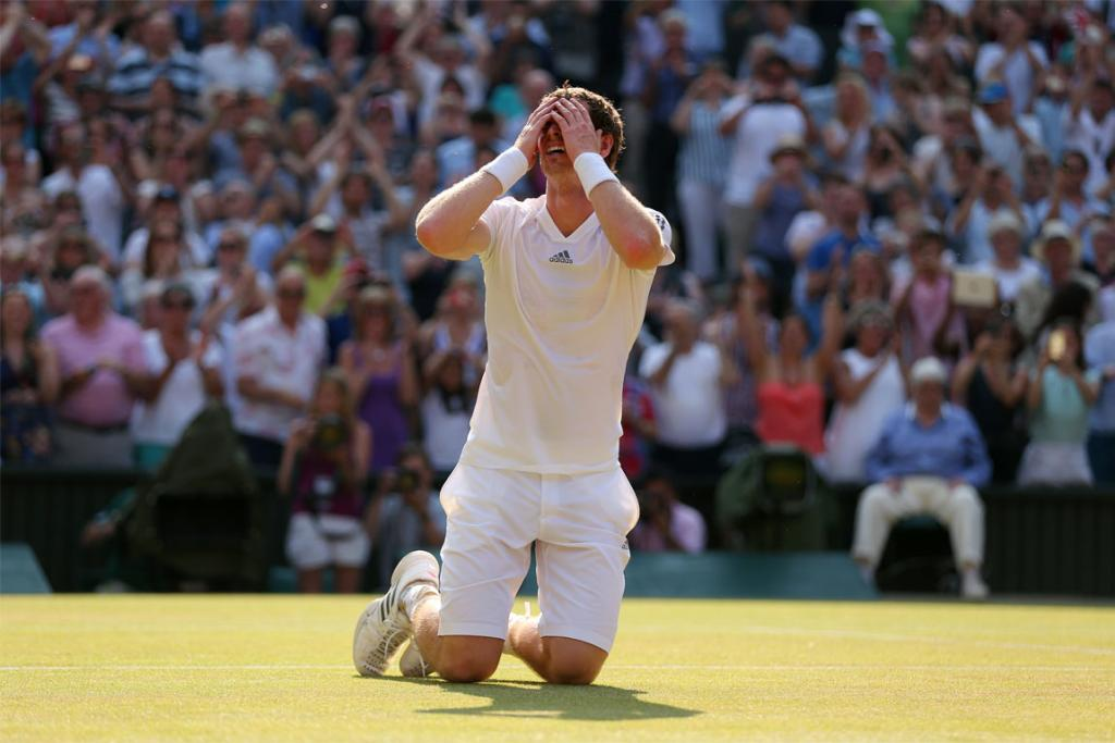 Andy Murray reacts after winning Wimbledon.