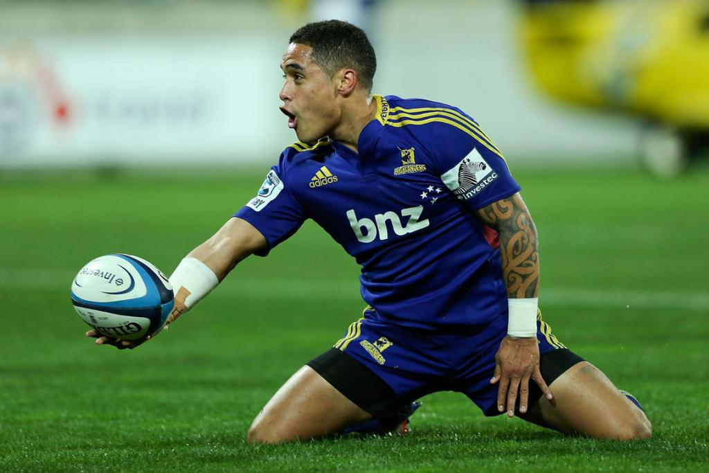 Aaron Smith of the Highlanders celebrates after scoring a try during the round 19 Super Rugby match between the Hurricanes and the Highlanders.