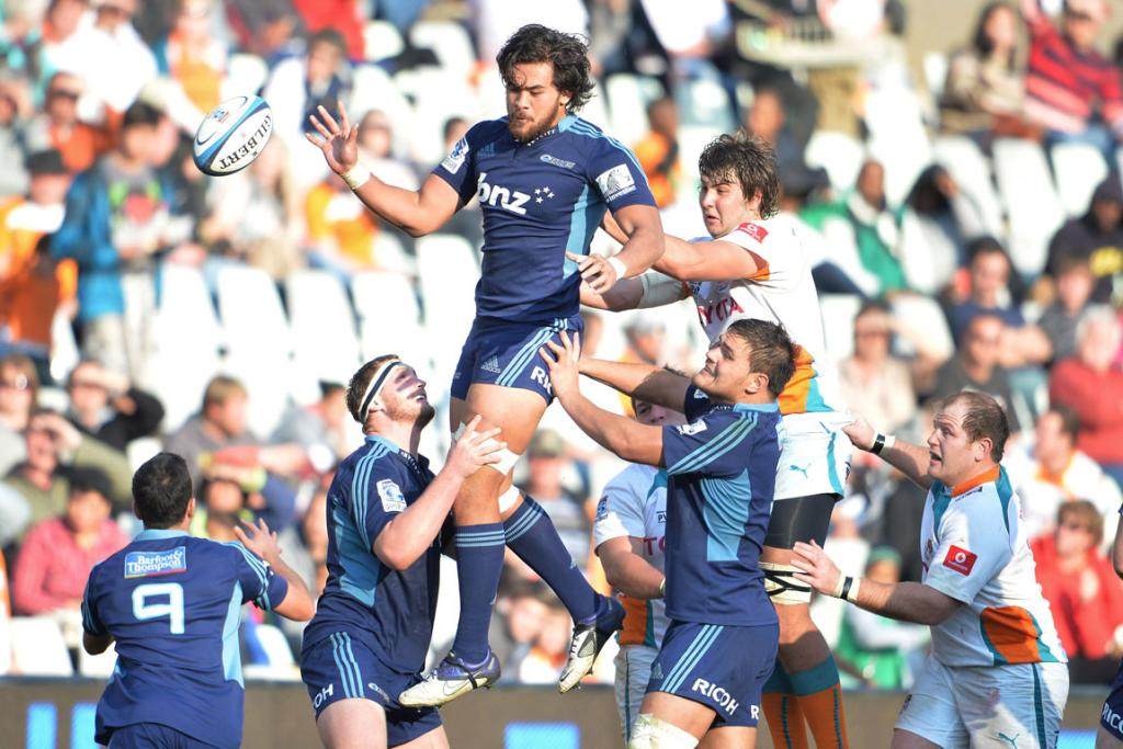 Steven Luatua of the Blues goes for the high ball during their match against the Cheetahs.