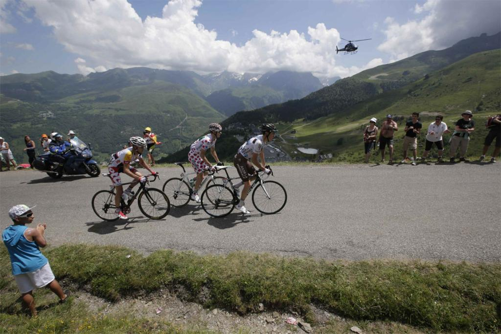 Riders tackle the Val Louron-Azet pass during stage nine of the Tour de France.