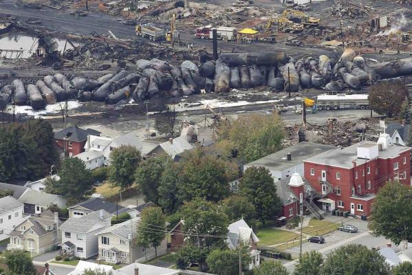 The remains of a driverless, runaway fuel train that exploded in a deadly ball of flames in the centre of a small Quebec town.