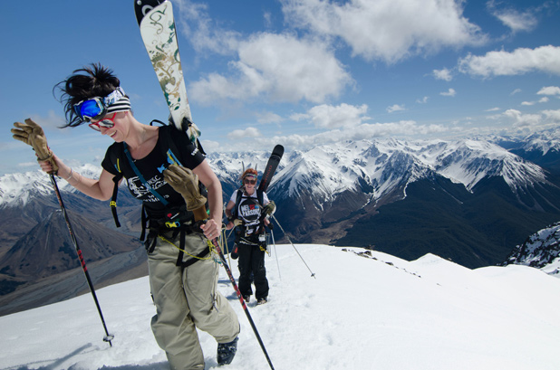 BACKCOUNTRY BASH A group of women heads into avalanche territory in the Southern Alps.