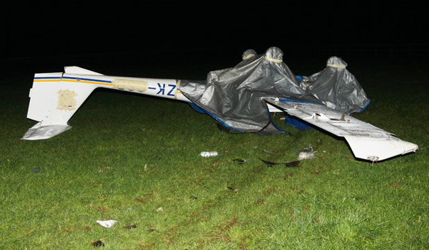 Crash landing: The pilot of this single-engine aircraft was taken to Waikato Hospital with moderate injuries yesterday.