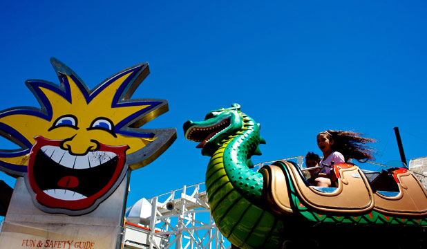 FOR THE FAMILY: Luna Park patrons enjoy a ride at the St Kilda Festival in Melbourne.
