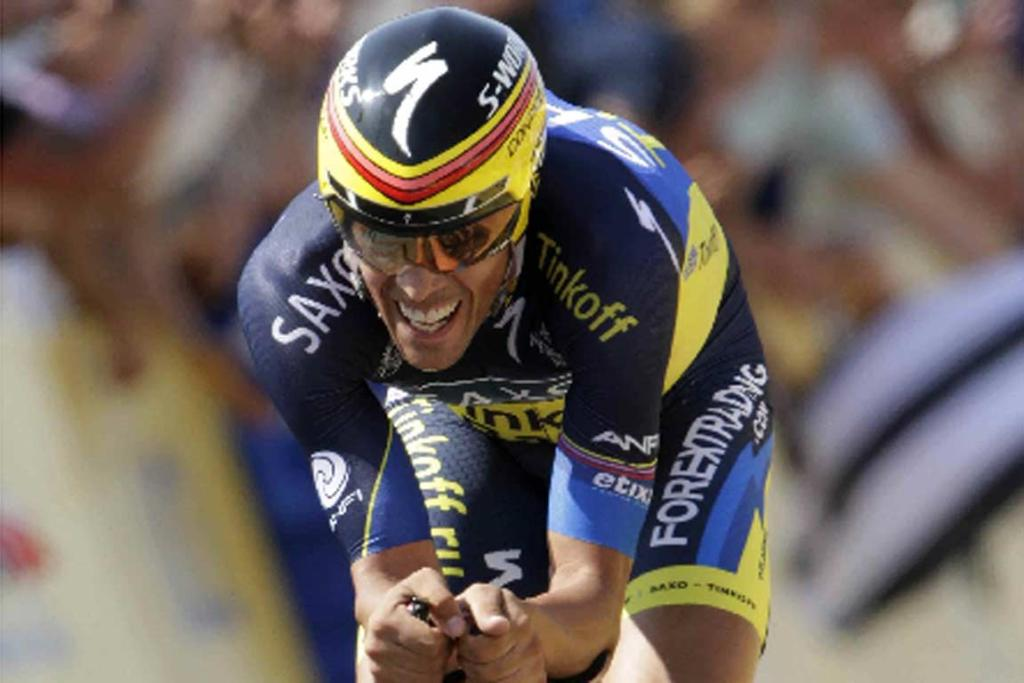 Alberto Contador grimaces as he heads to the finish of stage 11.