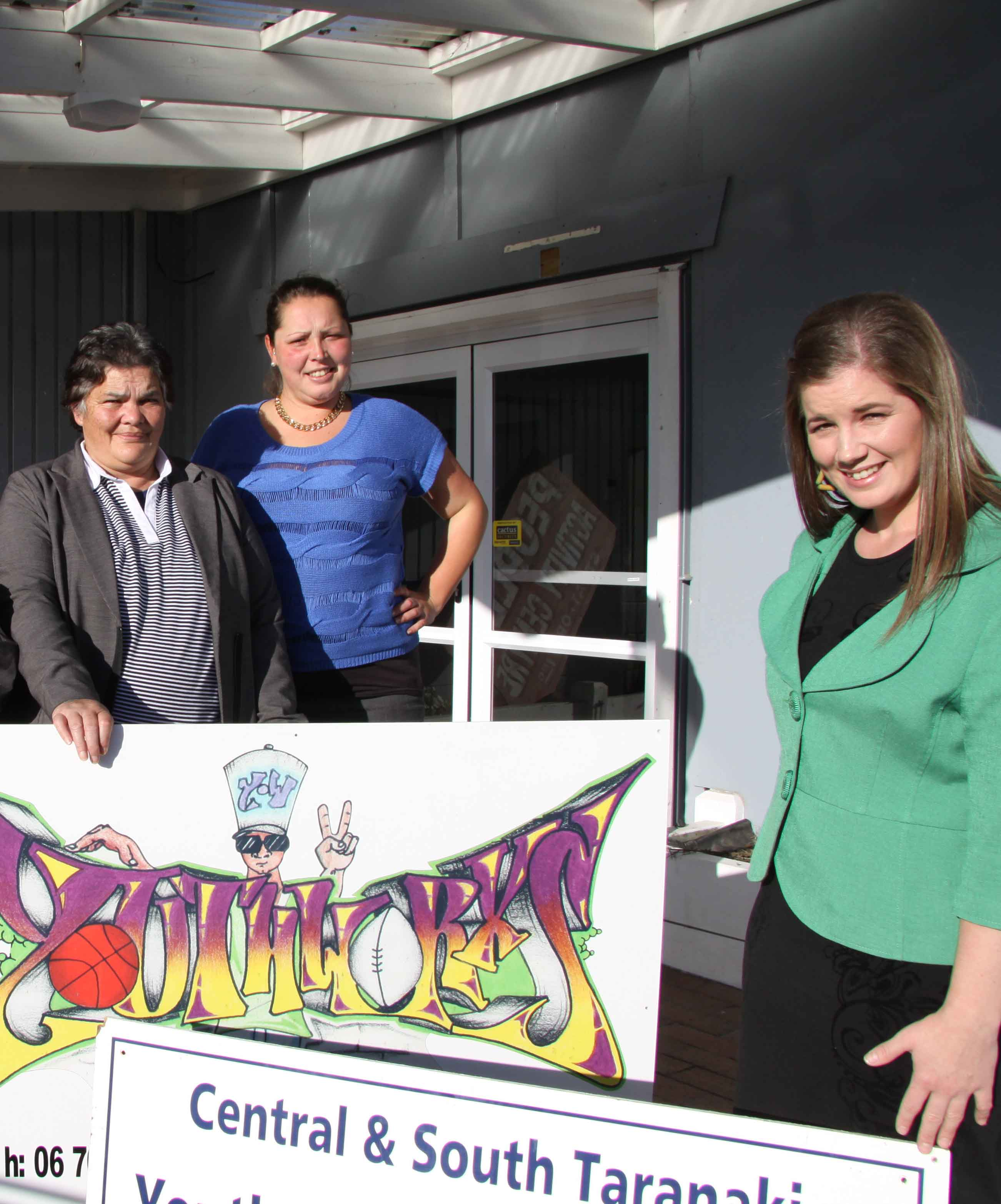From left, Central and South Taranaki police youth development officer Simon Howard, youth worker Phyllis Ratu, whanau support worker Lovey Read, family violence prevention and intiatives' Stephanie Walden, and Tutaki Youth Inc general manager Ellen Hall are excited about next week's opening.