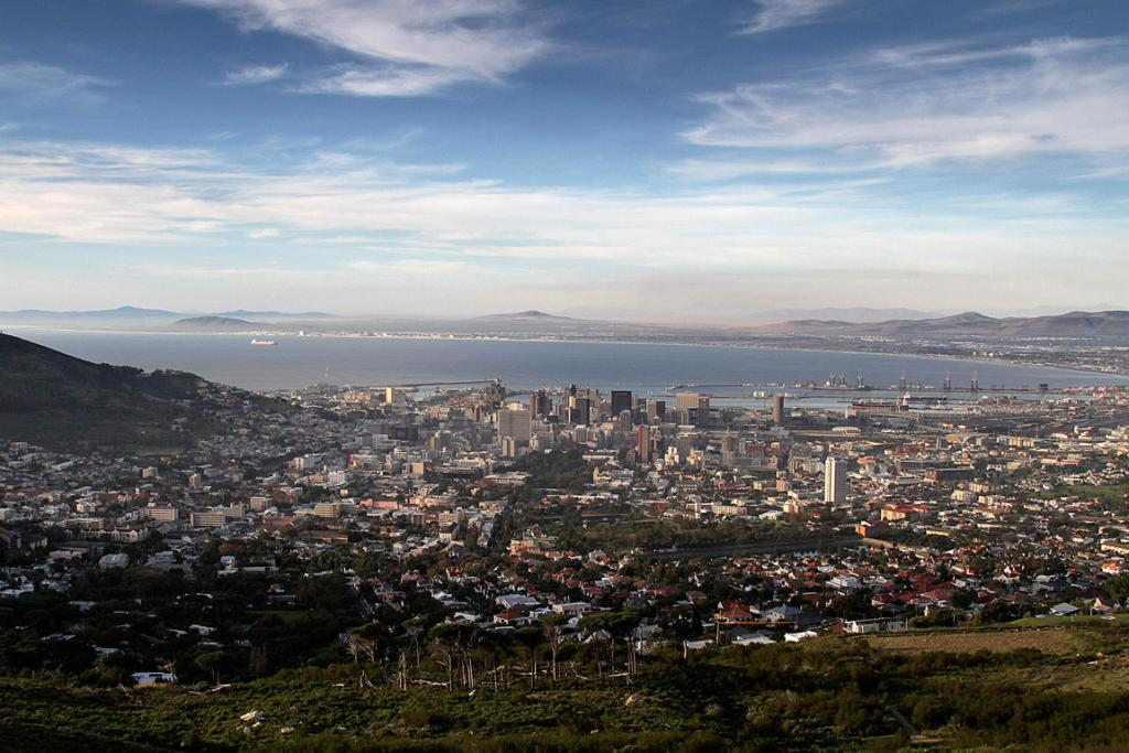 The city skyline of Cape Town is seen from Table Mountain in  South Africa.