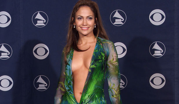 PEEK-A-BOO: Jennifer Lopez flaunts her assets in the now iconic Versace gown at the Grammy's in 2000.