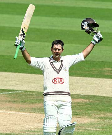 TON UP: Ricky Ponting enjoys the moment as he brings up a century for Surrey in his final first-class innings.