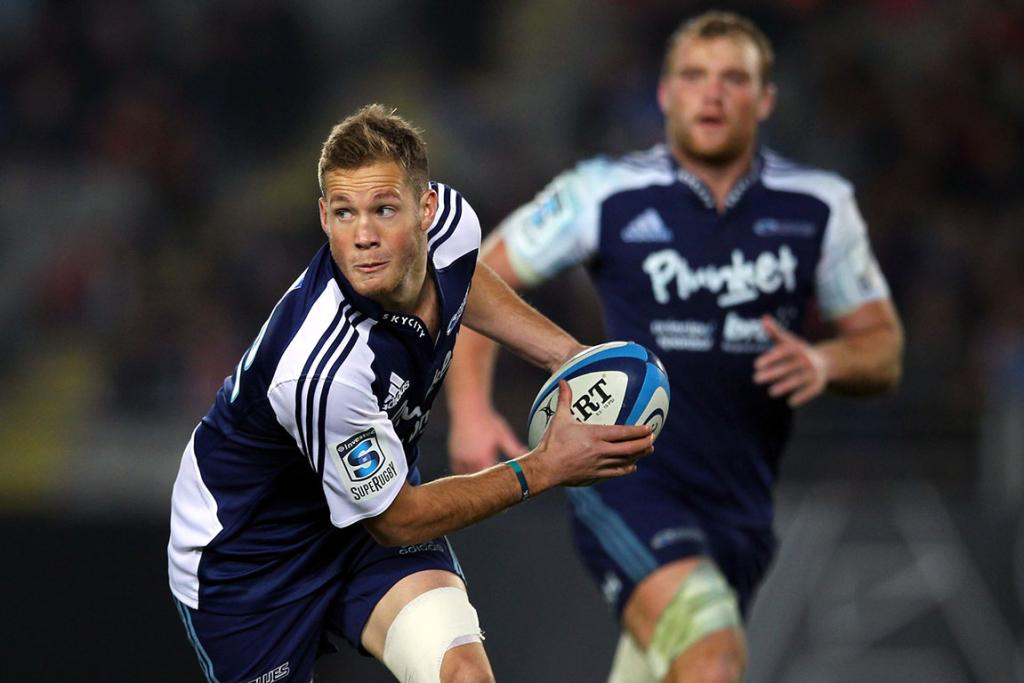 Marty McKenzie in action for the Blues during their season finale loss to the Chiefs.
