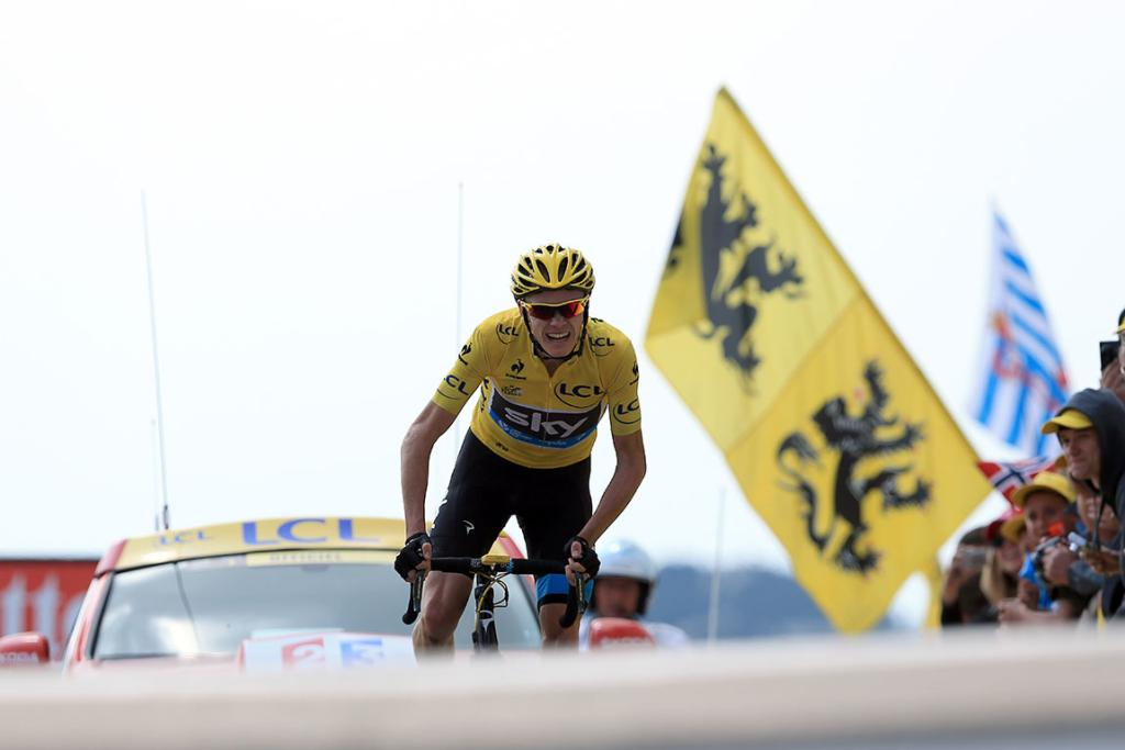 Yellow jersey holder Chris Froome approaches the finish line to win stage 15.