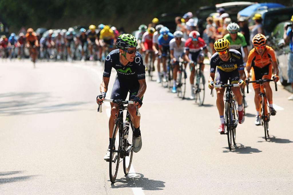Rui Costa of Portugal and Movistar Team tries to launch an attack at the front of the peloton during stage 15.