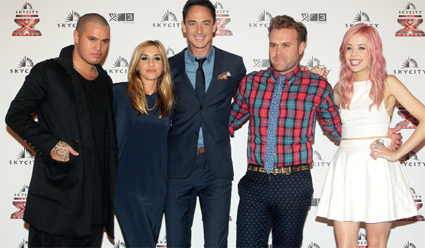 JUDGE AND JURY: Daniel Bedingfield in trademark checks with fellow judges Stan Walker, Melanie Blatt and Ruby Frost, and host Dominic Bowden (centre).