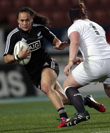 BLACK FERN: Portia Woodman in action during the second test against England.