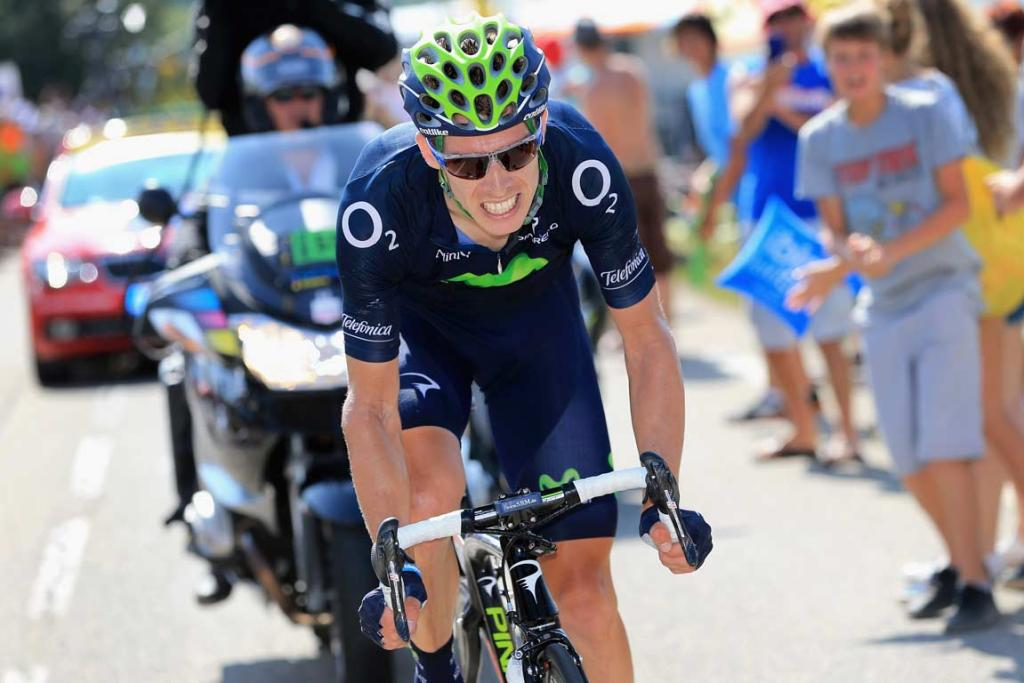Team Movistar's Rui Costa grinds his way up an incline.