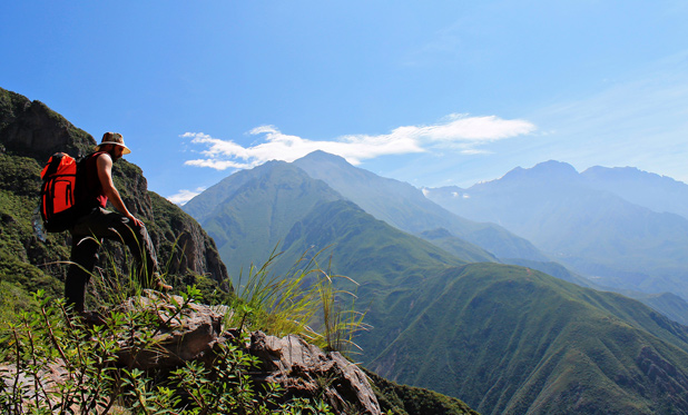 HIKING THE HEIGHTS: The Peruvian canyon hike threw up challenges on the way to the waterfall.