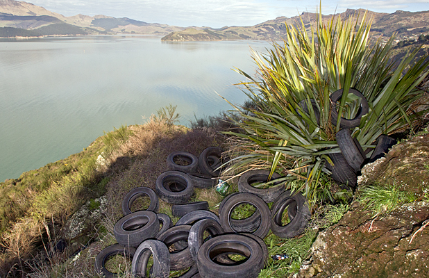 Tyres at Rapaki Bay lookout