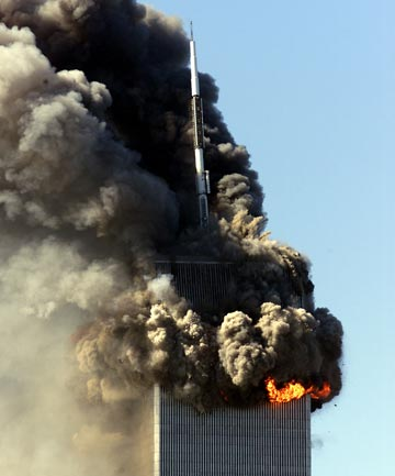 The World Trade Center burns after two airliners crashed into the buildings in New York City on September 11, 2001.