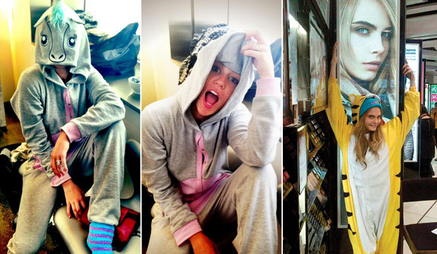 ROAR: Miley Cyrus and Cara Delevingne are some of the world's most dedicated animal onesie ambassadors.