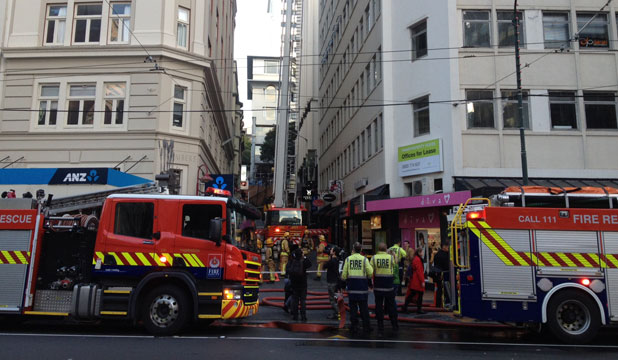 CALLOUT: Around six fire crews as well as the mobile command centre and ambulances were on the scene, partially blocking Lambton Quay.