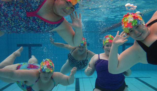 AQUAPORKO: You're going to stare? Well that's fabulous, say these aqua-ladies.