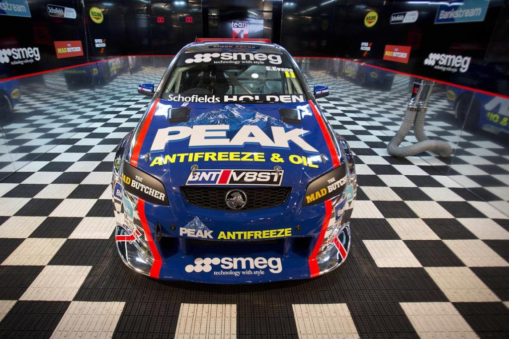 A V8 Holden race car is all set for display at the 2013 CRC Speedshow in Auckland.