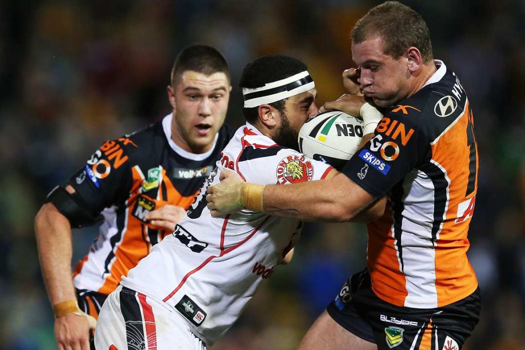 Ben Matulino charges straight into the Wests Tigers defence.