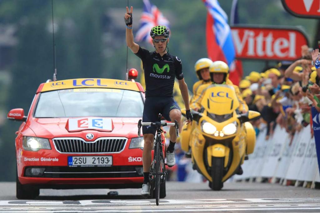 Rui Costa holds up two fingers as he wins his second stage of the Tour de France.