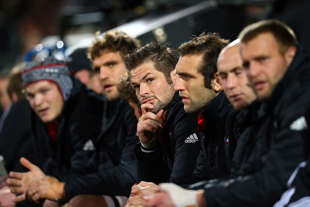 Richie McCaw looks on from the Crusaders bench during his side's Super Rugby qualifier with the Reds.