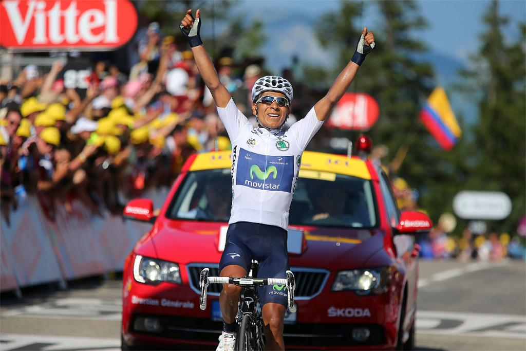 Nairo Quintana of Colombia and Movistar Team celebrates winning stage 20.