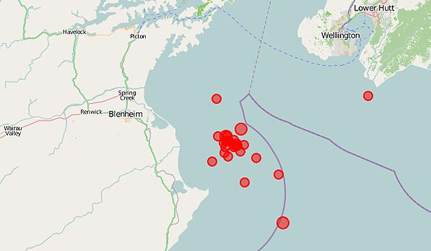 A Geonet map showing the epicentres of many of this morning's quakes