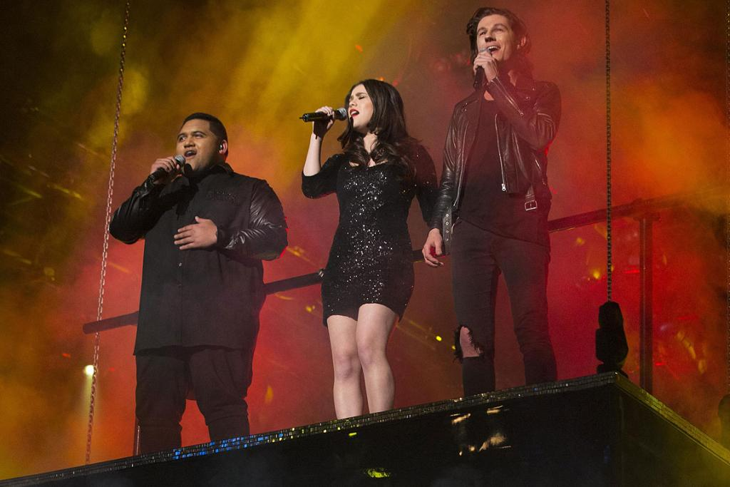 X Factor finalists Whenua Patuwai, Jackie Thomas and Benny Tipene.