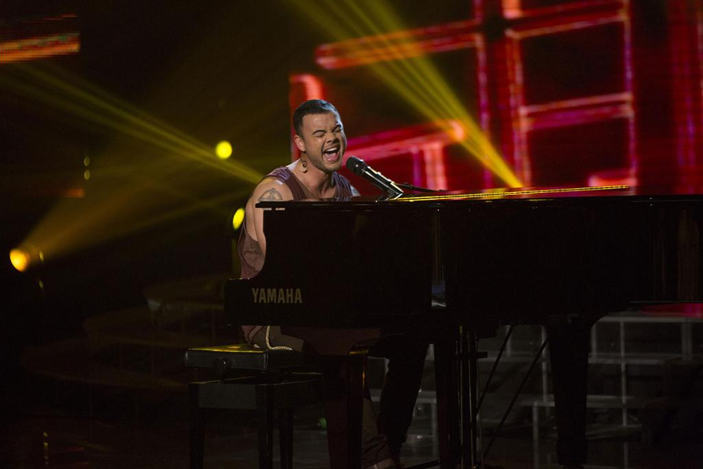 Guy Sebastian performs during the finale of X Factor.