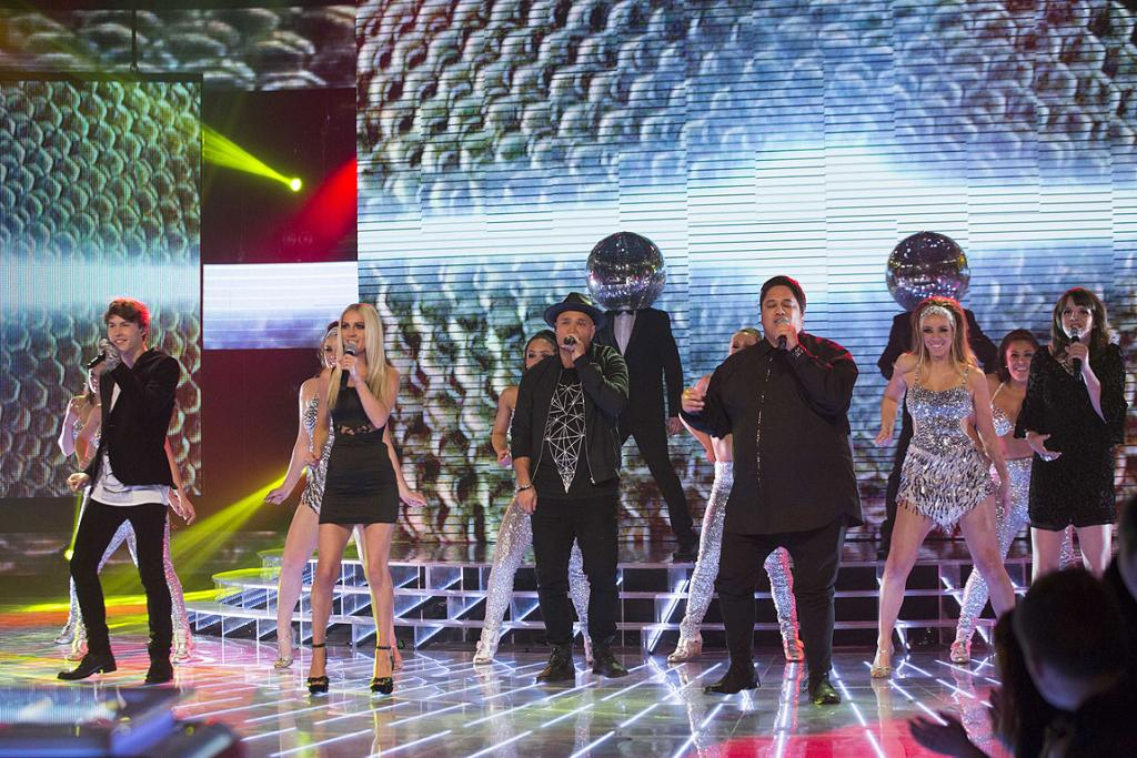 Contestants perform during the X Factor finale in Auckland.