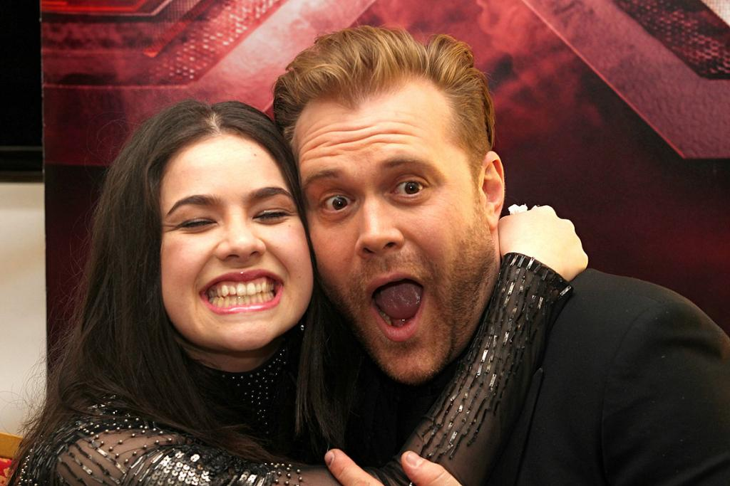 X Factor winner Jackie Thomas with judge Daniel Bedingfield.