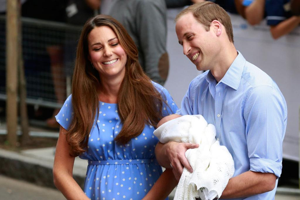 The duke and duchess with their bundle of joy.