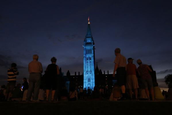 Ottawa's Peace Tower on Parliament Hill is lit blue to celebrate the birth of the royal baby boy.