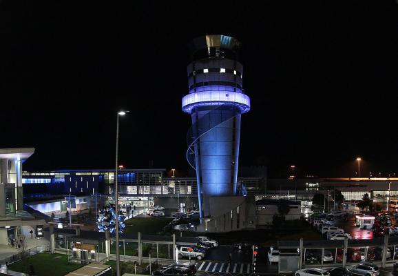 Christchurch Airport in New Zealand turns blue to celebrate the arrival of the royal baby.
