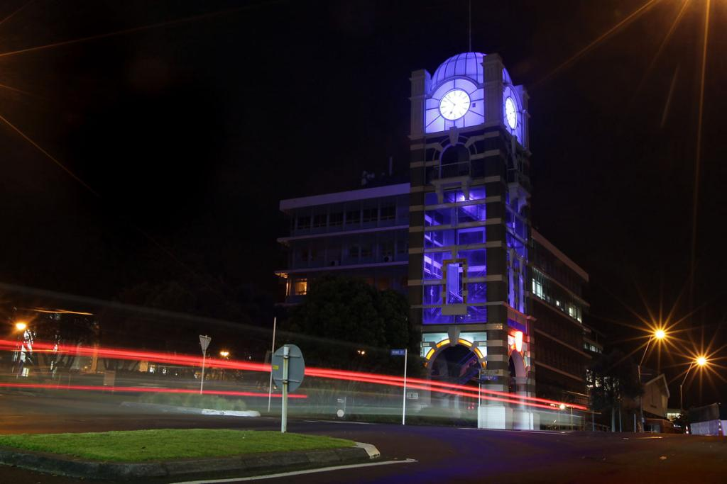 New Plymouth's Clock Tower is lit up in blue to celebrate the arrival of the royal baby.