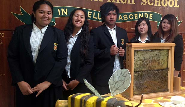 BUSY BEES, from left: Kalani Seumanu, Waireti Pirini, Sale Leota, Winnie Yang and Sreyna He want to get people buzzing about bees.