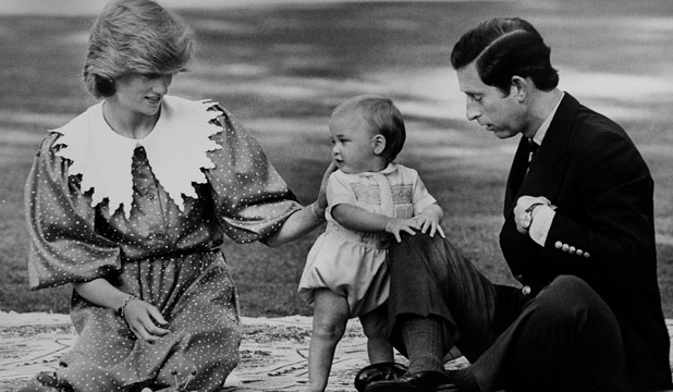 DOWN UNDER: Toddler Prince William with his parents Princess Diana and Prince Charles at Government House, Auckland on 20th April 1983.