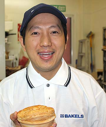 PIE MAN: No doctor has ever said ''two pies a day keeps the doctor away'' but supreme pie winner David Liem doesn't care. Morning tea and afternoon tea see him feasting on pies. And mince and cheese  is his favourite.