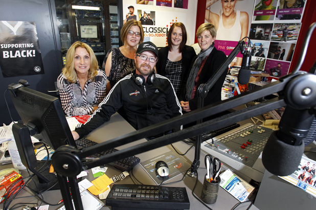 Back in: The Radio Network Marlborough manager Thelma Sowman, staff members Jenny Laws, Rhyanna Culley, Tracey Nicholl and Classic Hits Breakfast Show presenter Scott Radovanovich were back in the Porse House building for work yesterday morning
