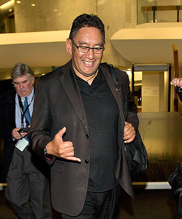 FINED: Mana Party leader Hone Harawira leaves the Auckland District Court after being found guilty of defying a police order during the protests over the state housing removals in Glenn Innes, Auckland.