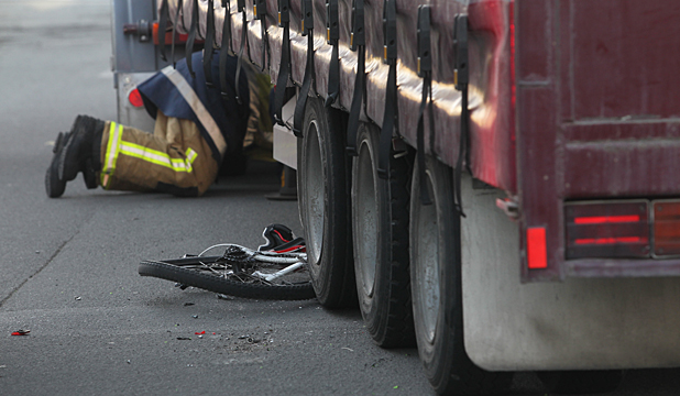 CRASH: A cyclist and truck and trailer unit collided in Sockburn this morning.
