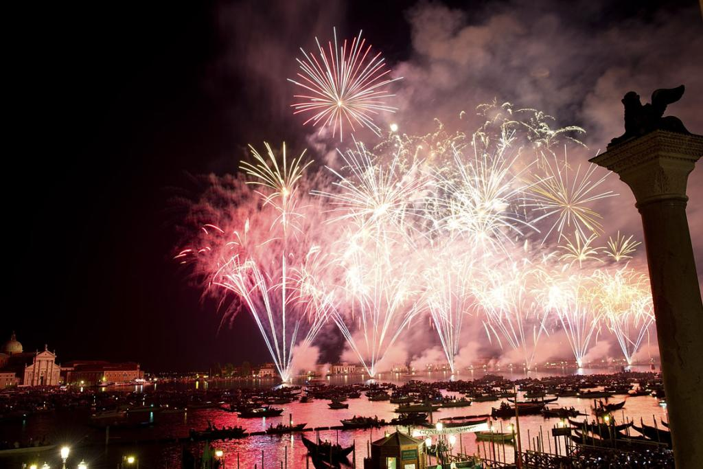 Fireworks explode over the St. Mark's Basin for the Redentore Celebrations in Venice, Italy. Redentore, which is in remembrance of the end of the 1577 plague, is one of Venice's most loved celebrations.