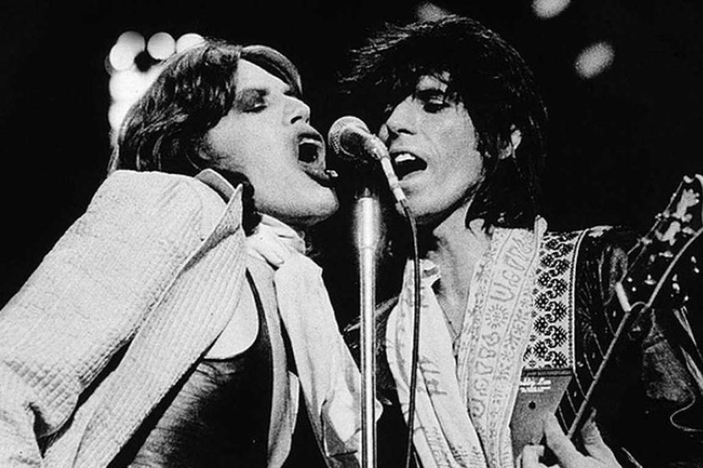 Mick Jagger and Keith Richards of the Rolling Stones in Boston, 1975.
