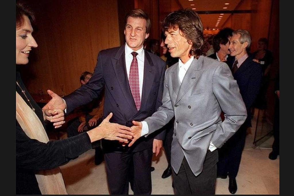 Mick Jagger arrives at a function held by premier Jeff Kennett and his wife Felicity, 1995.