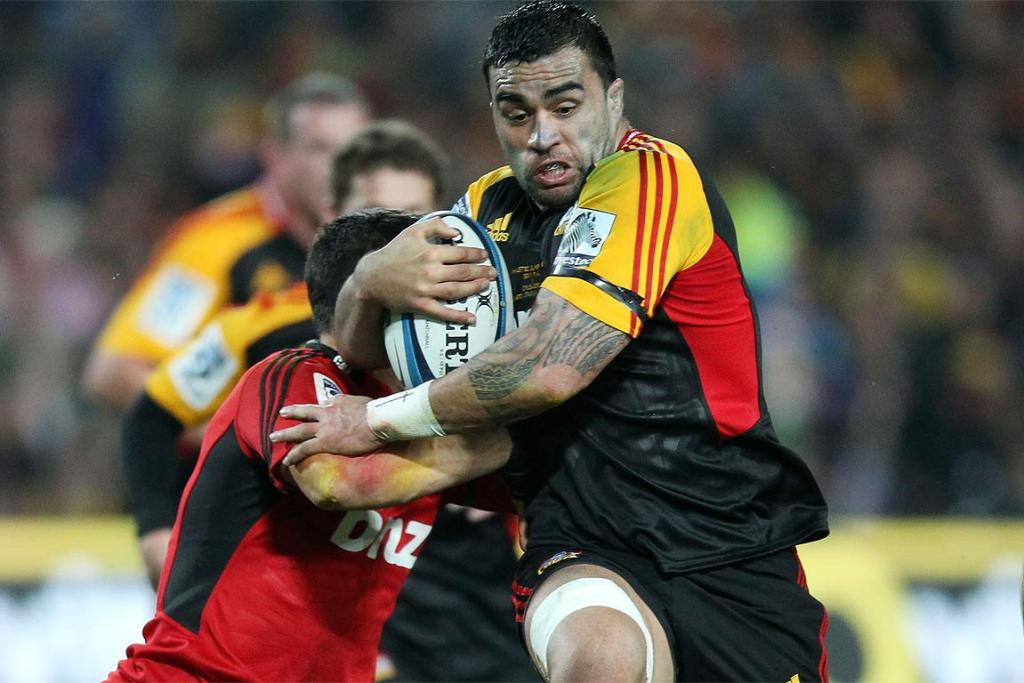 Liam Messam takes on the Crusaders defence.