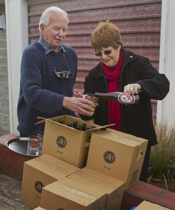 Ron and Sandra Marris prepare to honour Sandra's great-grandfather with a replica of the beer he brewed at Hororata in the 1880s.